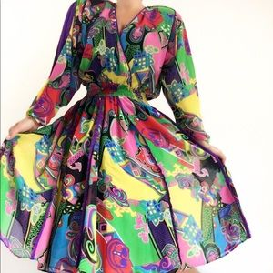 Vintage Diane Freis Abstract Print Colorful Dress